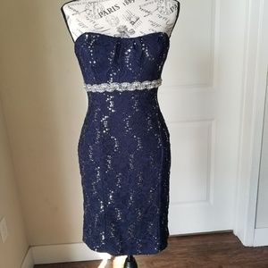 My Michelle Navy Blue Silver Sequined Evening Gown